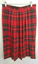Lands' End Womens Skirt Red Plaid Pleated Lined Wool Scottish Tartan Size 14 VTG
