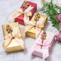 10Pcs Wedding Paper Candy Box Birthday Party Souvenir Gift Box Bowknot Cake Bag