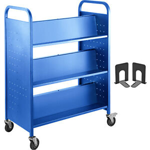 BookCartLibraryCart200lb with Double Sided W-Shaped Sloped Shelves in Blue