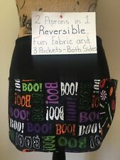 2 in 1 Reversible Halloween Boo Candy Size R,M,S Waitress Apron Server 3 Pocket