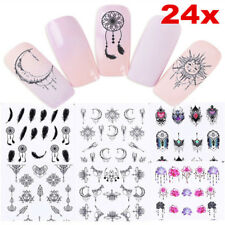 24 Sheets Dreamcatcher Feather Moon Water Transfer Decals Nail Art Stickers Tips