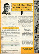 1960 Print Ad NRA National Rifle Association Membership Application Order Form