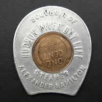 1946 Hudson River NY Steamer Vintage Lucky Wheat Penny Encased Good Luck Charm