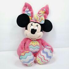 "Disney Minnie Mouse 15"" Plush Easter Egg Bunny Hot Pink Rabbit Stuffed Animal"