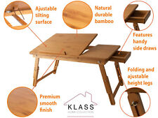 Bamboo Wood Extendable Laptop Computer Notebook Desk Bed Sofa Tray Folding Stand