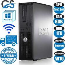 FAST DELL QUAD CORE PC COMPUTER DESKTOP TOWER WINDOWS 10 WI-FI 8GB RAM 1TB HDD