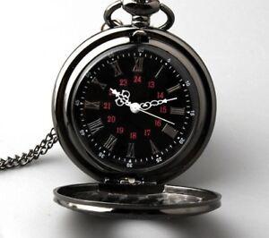 Vintage Pocket Watch Necklace Chain Black Steampunk Pendant Mens Pocket Watches