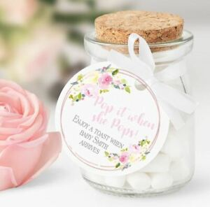 10 x Personalised Baby Shower Pop when she Pops Round Favour Tags