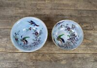 Two Vintage A&G Harley Jones Wilton Ware Oriental Lustre Bird Design Bowls.