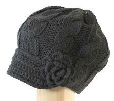 Wm's DGrey Hand Knitted Newsboy Hat Cap w/ Short Soft Visor Side Crochet Flower