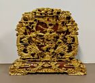 Antique Chinese 3D Carved Wood Gilt Gold Panel   Battlefield