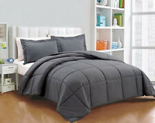 Home Linen Down Alternative Comforter 200 GSM Gray Solid Cal King Size