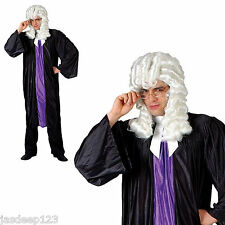Adult Judge High Court Fancy Dress Costume Mens Lawyer Barrister Robe Gown Wig