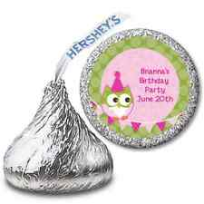 Owl Birthday Girl - Personalized Hershey Kiss Birthday Party Sticker Labels