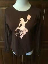 Modern Cowgirl Brown Ls Blouse Size Large Ref Az-112