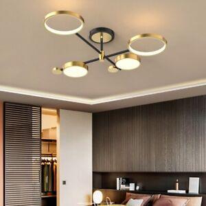 Nordic Style Semi Flush Mount Ceiling Light Gold Ring LED 4-Light Lamp Bedroom