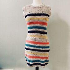 LITTLE MARCEL womens cream tan multicolor stripe knitted dress NWT S