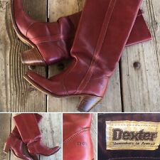Vintage Dexter Cowboy Boots Cloth Pulls 7 1/2 N Burgundy Or Maroon Leather Dex