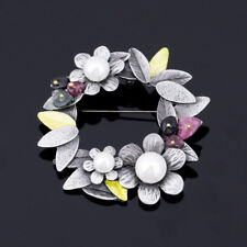 Retro Nature Stone Brooches Pearl Flower Brooches Scarves Buckle Brooch Pin