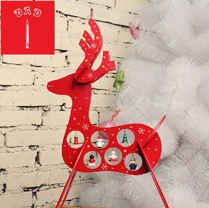 3D Christmas wooden reindeer indoor with hanging decoration table Decoration