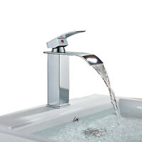 Bathroom Sink Faucet Chrome Waterfall Spout Basin Mixer Tap Single Hole