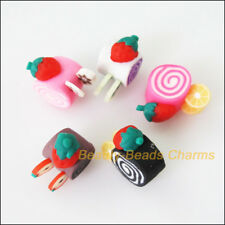 10 New Charms Polymer Fimo Clay Cake Flat Spacer Beads Mixed 15mm