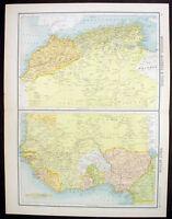 1890 Bartholomew Antique Map Northern, Western Africa