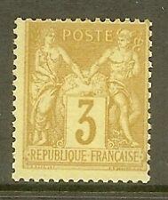 "FRANCE STAMP TIMBRE N° 86 "" SAGE 3c BISTRE SUR JAUNE 1878 "" NEUF xx TB"
