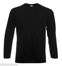 FRUIT OF THE LOOM LONG SLEEVED T SHIRT CREW NECK COTTON T-SHIRT TOP PLAIN TEE