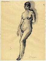 Irma Siegert: Weiblicher Akt, aquarellierte Tuschezeichnung, signiert um 1950.