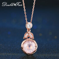 Round Pendant Natural Gem Rose Quartz Rose Gold Necklace Fine Jewelry For Women