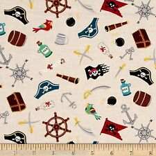 Pirates Icons 100% Cotton Fabric by Makower  FQ 1672/Q