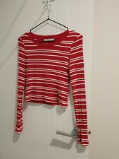 Red And White Stripe Metalicus Top Size XS/S