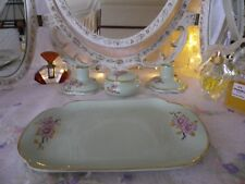 Beautiful Vintage Adderley dressing table set, Green & Pink, 4 Pieces, Exc. Cond