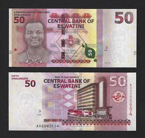 ESWATINI 50 Emalangeni 2018, P-New Issuer / Country Name, New UNC, Swaziland