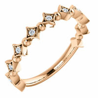 Genuine 1/10 ctw Diamonds Stackable Style Ring 14K. Yellow or White or Rose Gold
