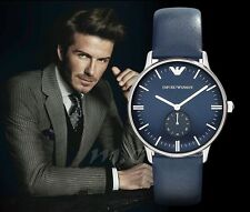 EMPORIO ARMANI AR1647 Blue Leather Strap Men's Analog Watch