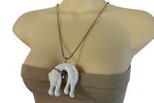 Women Gold Long Metal Chain Animal Necklace Fashion Jewelry White Cat Pendant
