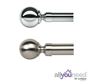 NEW!28mm Metal Eyelet Curtain Pole Sets with Ball Finial Chrome Satin Silver