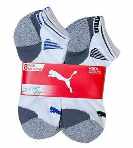 PUMA Men's Low-Cut Cushioned Socks, White, 8 Pack