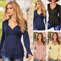 Women Ladies Solid V-neck Peplum Blouse Long Sleeves T-shirt Casual Tops New