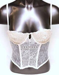 Victoria's Secret Designer Collection Ivory Lace Lace-Up Lined Longline Demi Bra