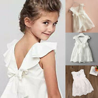 US Toddler Kids Baby Girl Lace Bow Flower Princess Dresses Party Pageant Clothes