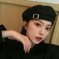 Women Black Military Hats Autumn Winter Newsboy Caps Female Gorras Chapeau Femme