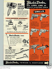 1959 PAPER AD Black & Decker Power Tools Electric Drill Saw Router Sanders