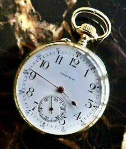 A STUNNING ANTIQUE 1900 L. LEROY & CIE PARIS IN 18K SOLID GOLD ENAMEL DIAL GWO