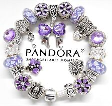 Authentic Pandora Bracelet Silver Charm With Purple Crystal European charms~NIB