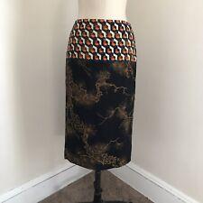 DRIES VAN NOTEN Women's Straight Skirt Wool Brown Geometric Flat Front 6