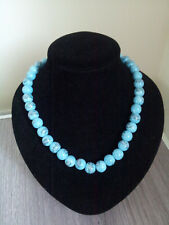 "Turquoise / blue beads stretchy, 18"" long, choker, handmade"