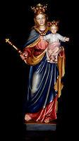 Geschnitzte Muttergottes mit Kind, Maria Königin, Madonna mit Kind Holz